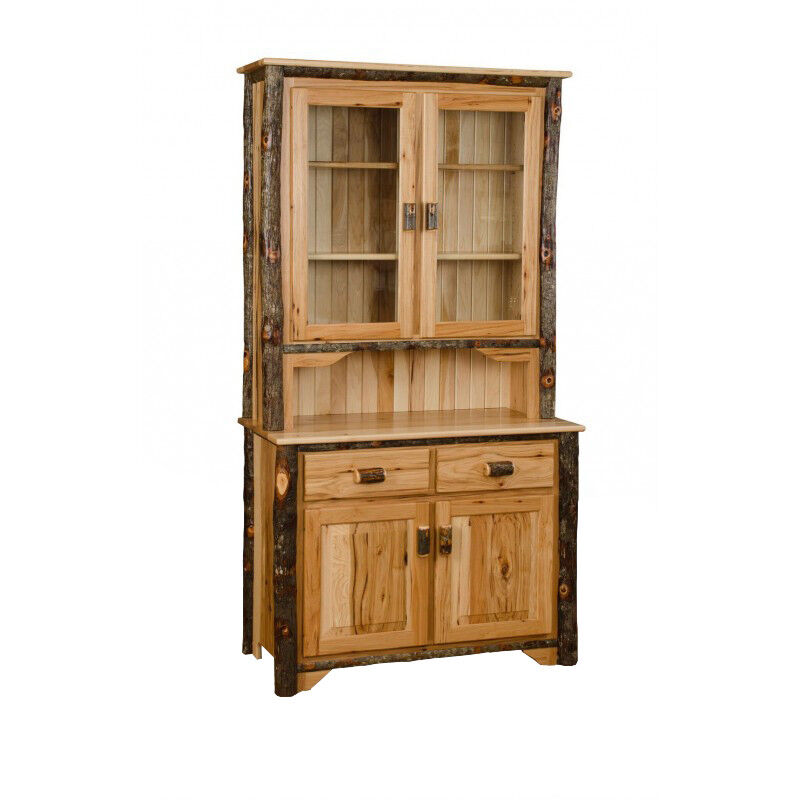 Rustic Kitchen Hutch: *ALL HICKORY* Rustic 2 Door Buffet & Hutch- Amish Made USA