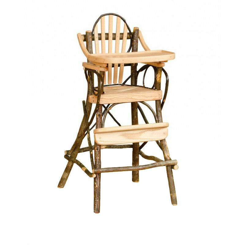 All hickory rustic children s high chair with flip tray amish made