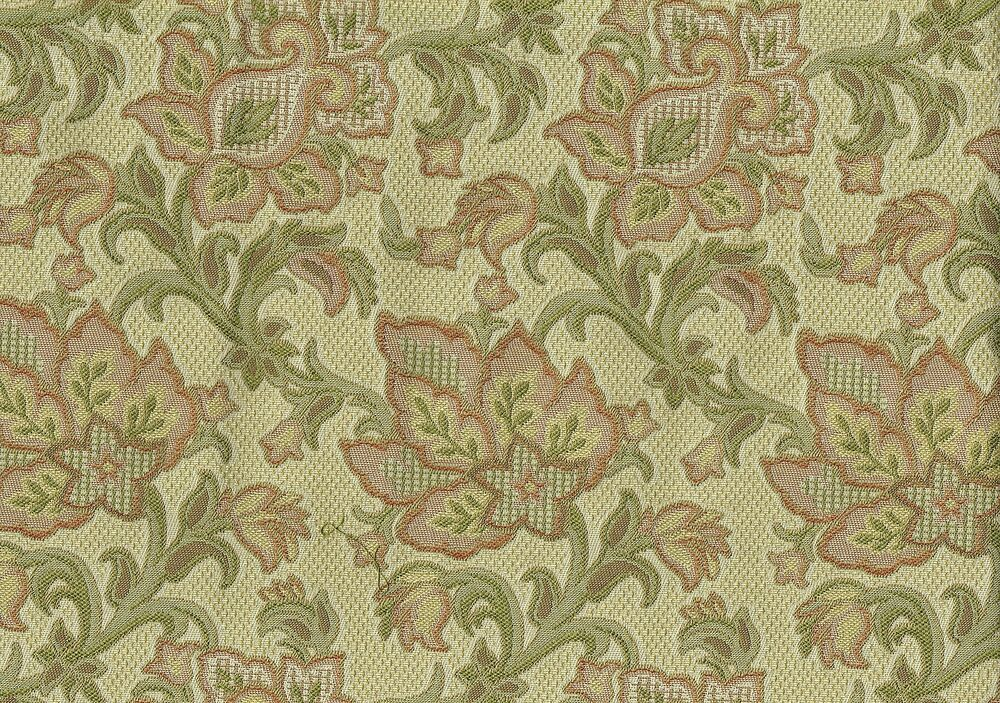 Designer fabric beige green gold rust floral print drapery for Floral upholstery fabric