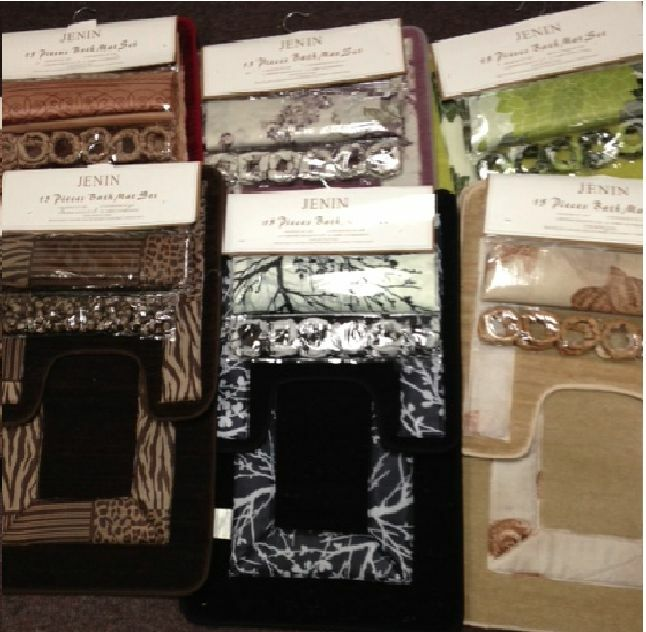 Mat set rug carpet fabric shower curtain hooks zebra leopard ebay
