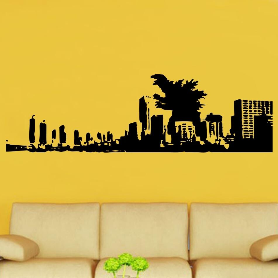 Godzilla And City Decal Vinyl Wall Sticker Art Kids Room Boys Girls ...