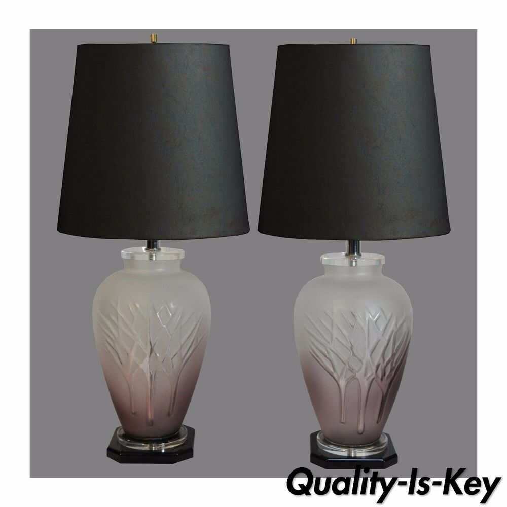 Mid Century Rembrandt Lamp: Pair Vintage Mid Century Modern Frosted Purple Glass