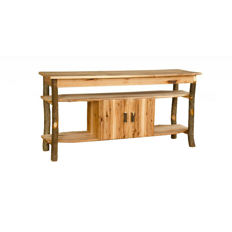 Hickory oak rustic sofa table tv stand with cabinet for Sofa table cabinet