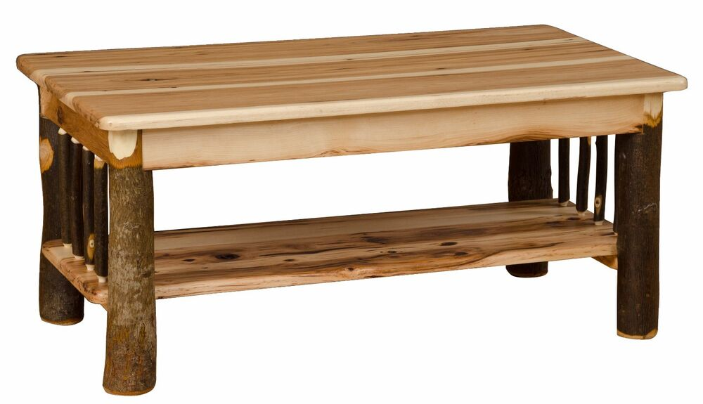 Hickory Oak Rustic Coffee Table Amish Made Usa Ebay