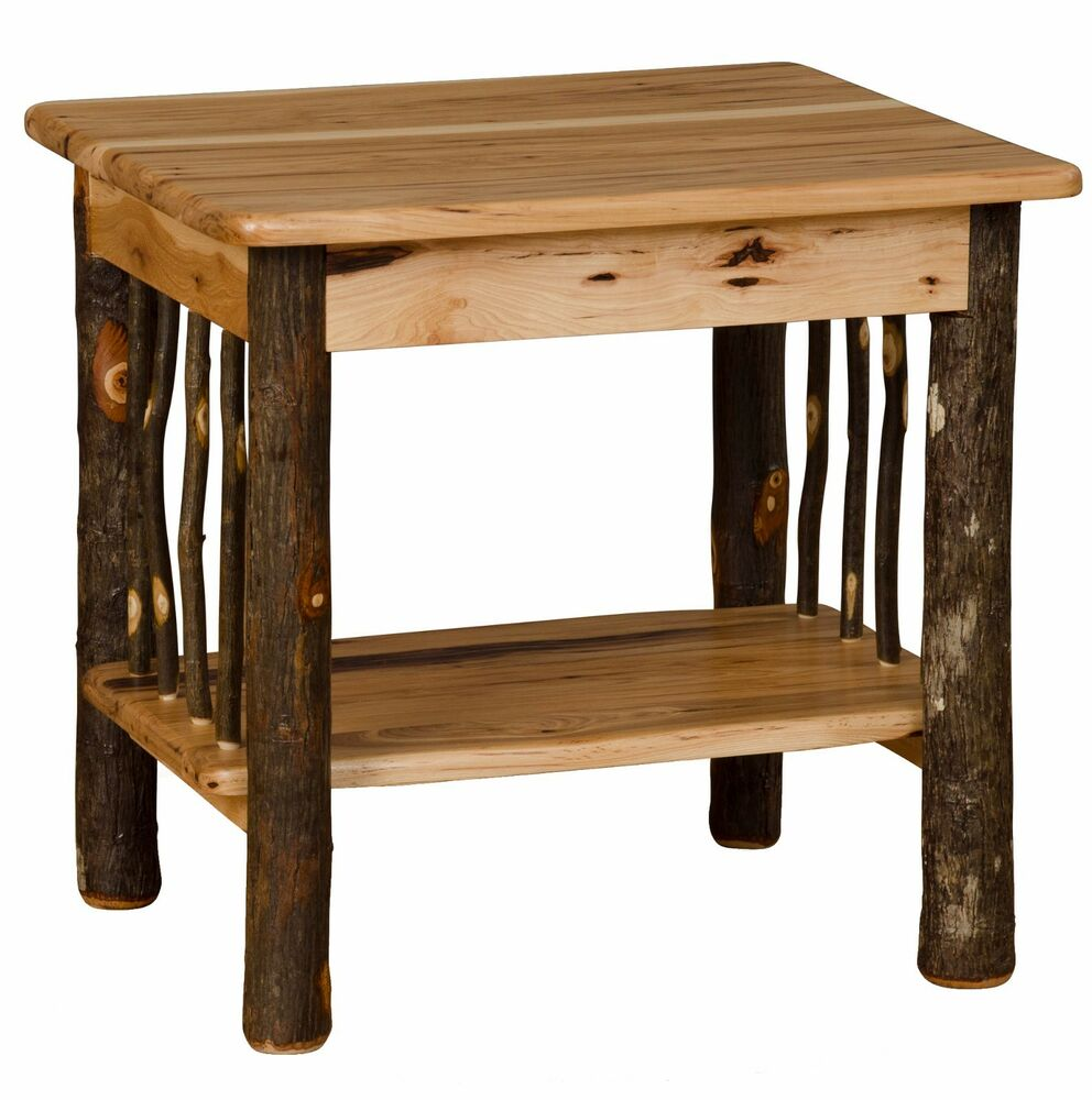 Hickory oak rustic end table amish made usa ebay Pictures of rustic furniture