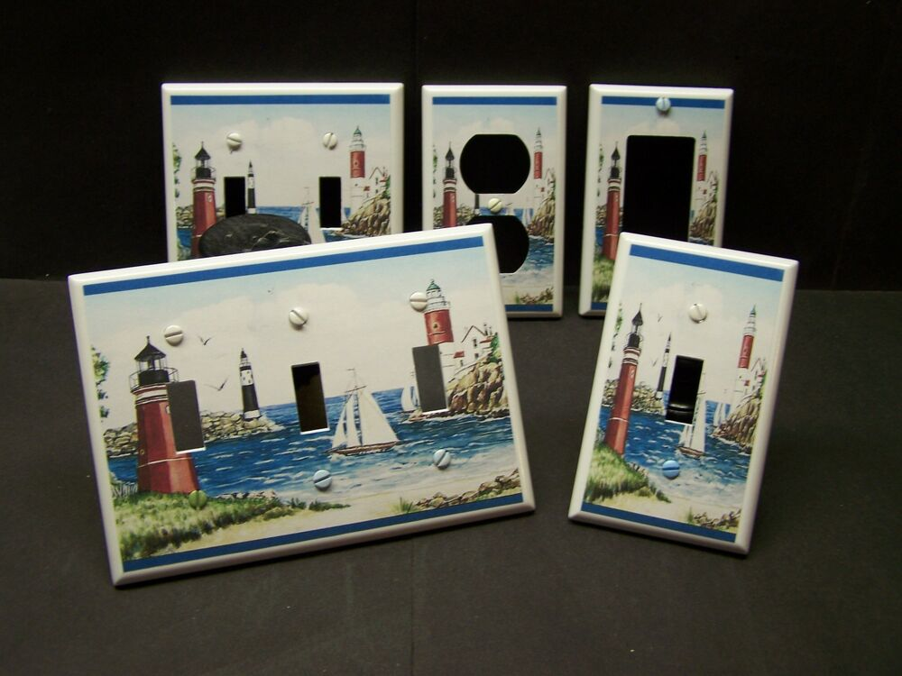 Lighthouse sailboat beach nautical light switch or for Lighthouse switch plates