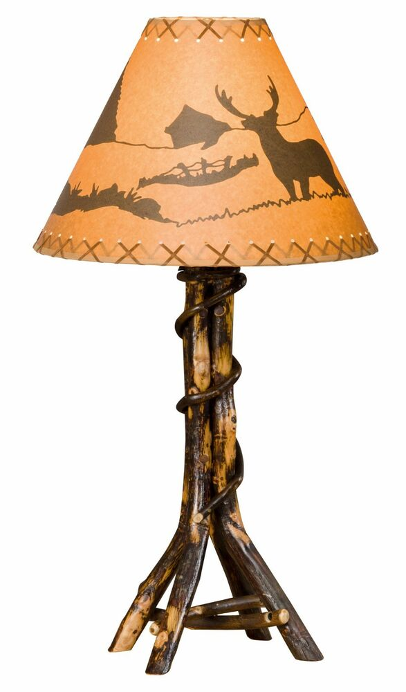 Rustic Hickory Twisted Log Table Lamp Amish Made Usa Ebay