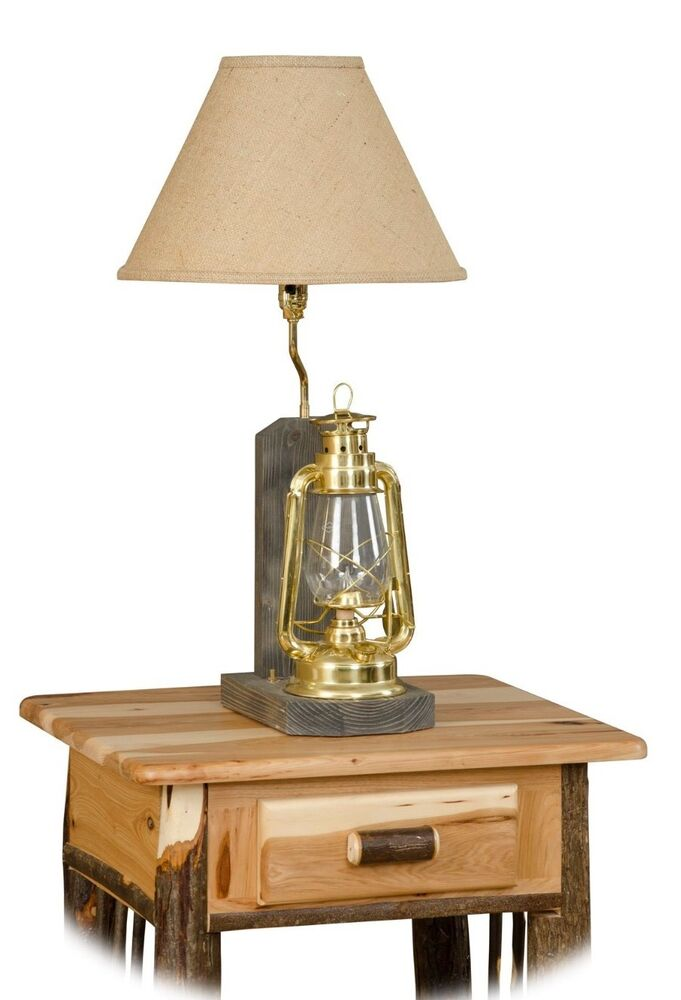 Rustic Hickory Lantern Table Lamp Amish Made USA