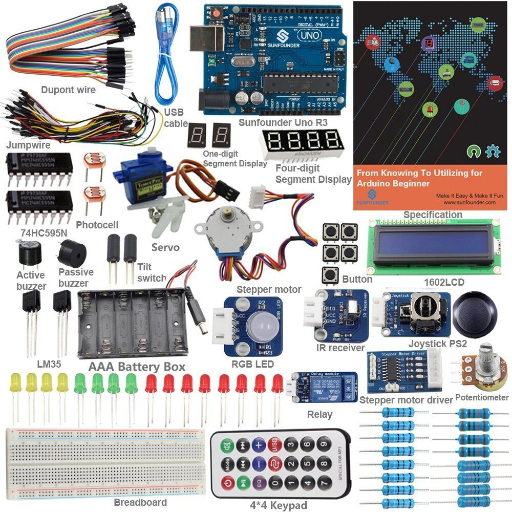 Sunfounder starter beginner kit for arduino with lcd