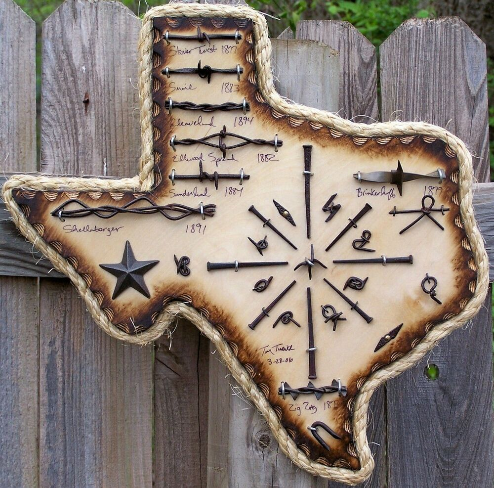 Antique barbed wire display texas authentic square nails