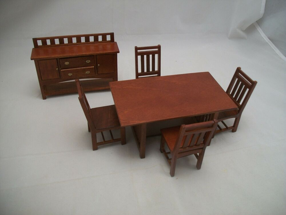 dining room set craftsman style dollhouse wooden furniture