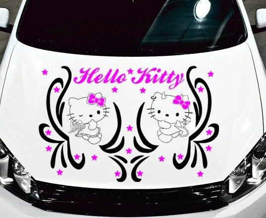 TRIBAL DECAL W HELLO KITTY ANGEL AND DEVIL VINYL GRAPHIC HOOD - Vinyl decals cartribal hearts decal vinylgraphichood car hoods decals and