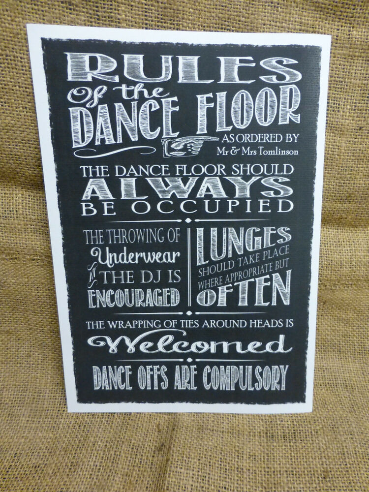 Personalised Chalkboard Style Dance Floor Rules Sign
