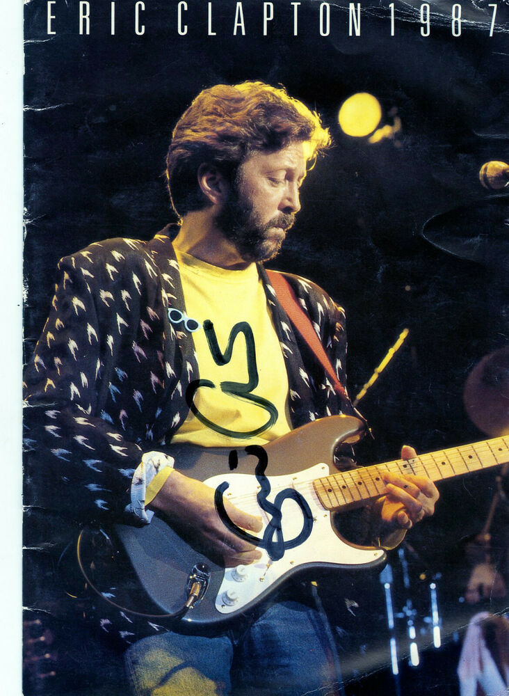 eric clapton signed 1987 tour program with a nice early fuller signature ebay. Black Bedroom Furniture Sets. Home Design Ideas
