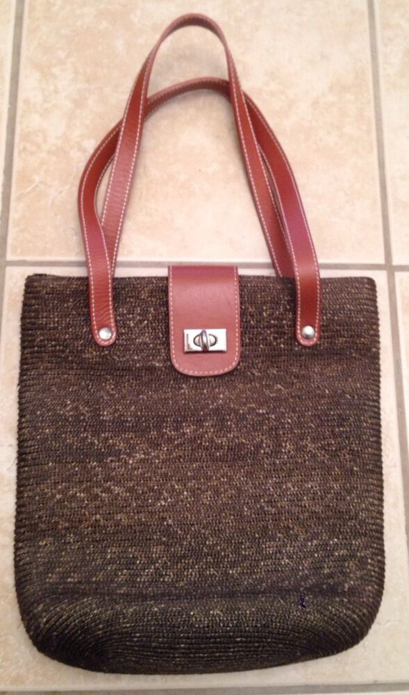 J. CREW Brown Woven Leather Straps Easy Clasp Medium ...