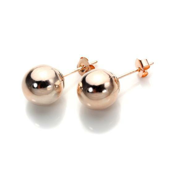 pair 9ct rose gold ball stud earrings 3mm 8mm gold