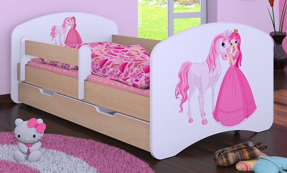 hb kinderbett prinzessin mit pferd mit matratze und bettkasten neu ebay. Black Bedroom Furniture Sets. Home Design Ideas
