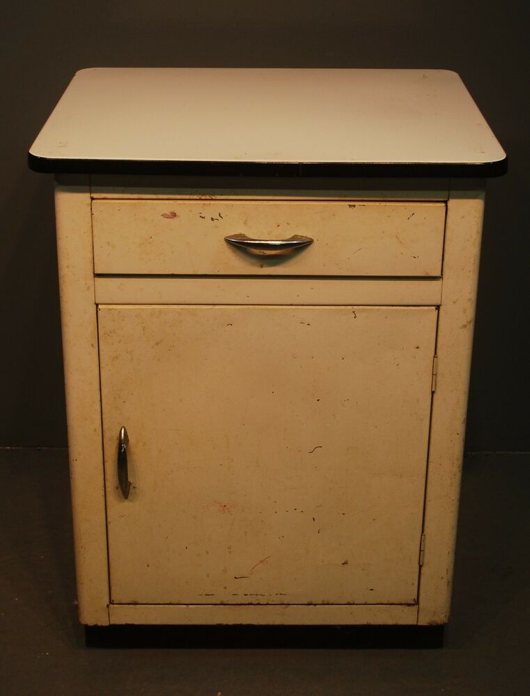 Vintage industrial enamel porcelain top 1 drawer 1 door for 1 door cabinet