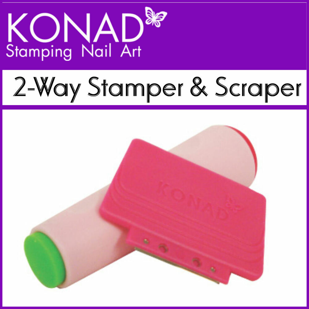 Konad Nail Art 2-Way Stamper and Scraper double sided Use with Image ...