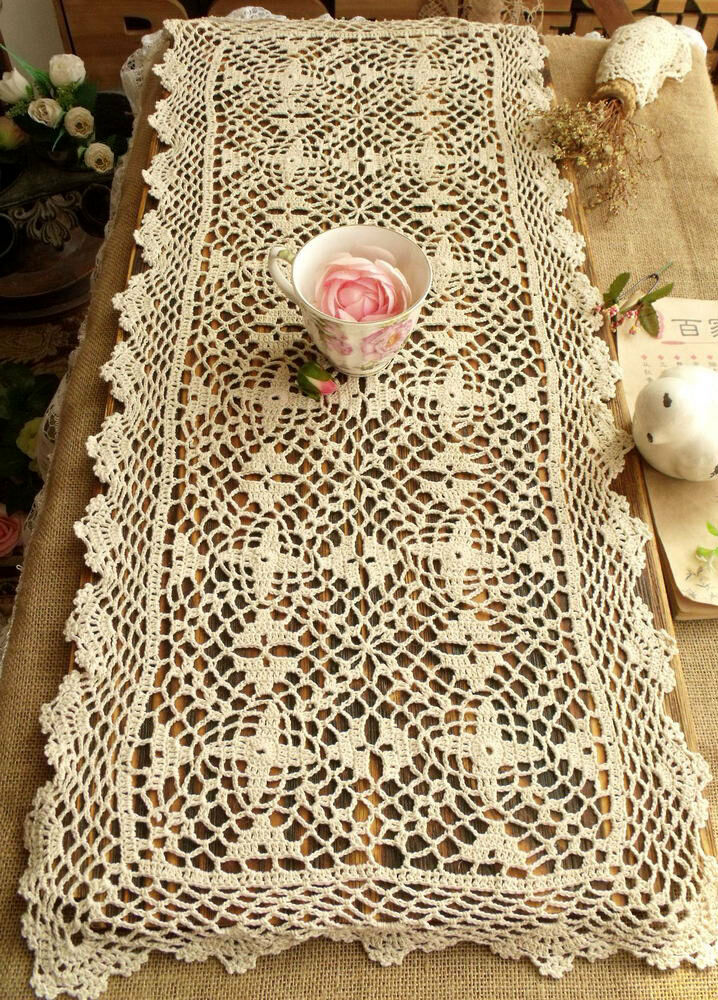 Crochet Patterns Lace Table Runners : Vtg HAND Crochet Lace Table Runner Dresser Scarf Cotton ...