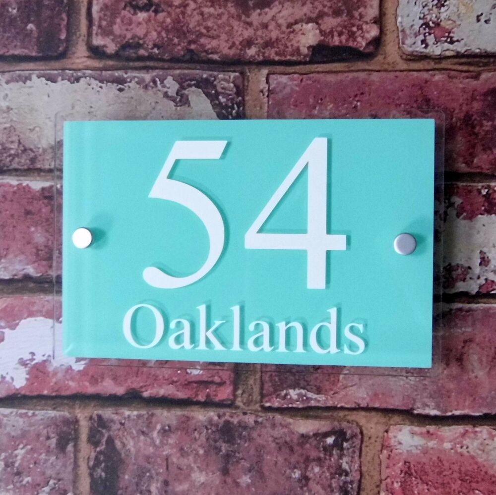 Modern house name sign door number address plaque street for Door name signs