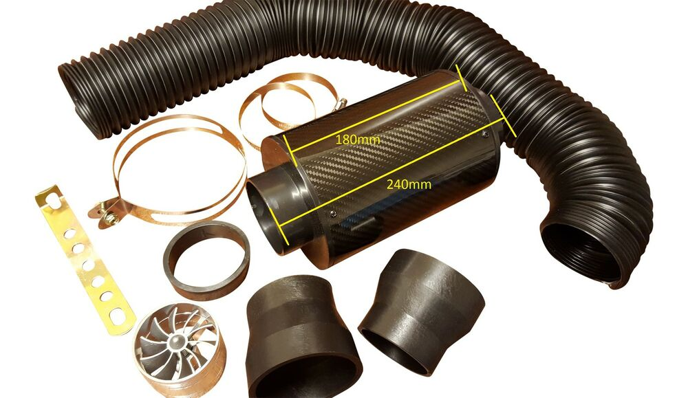 Fan Spacer Cold Air Intake : Carbon filter induction kit universal cold air feed intake
