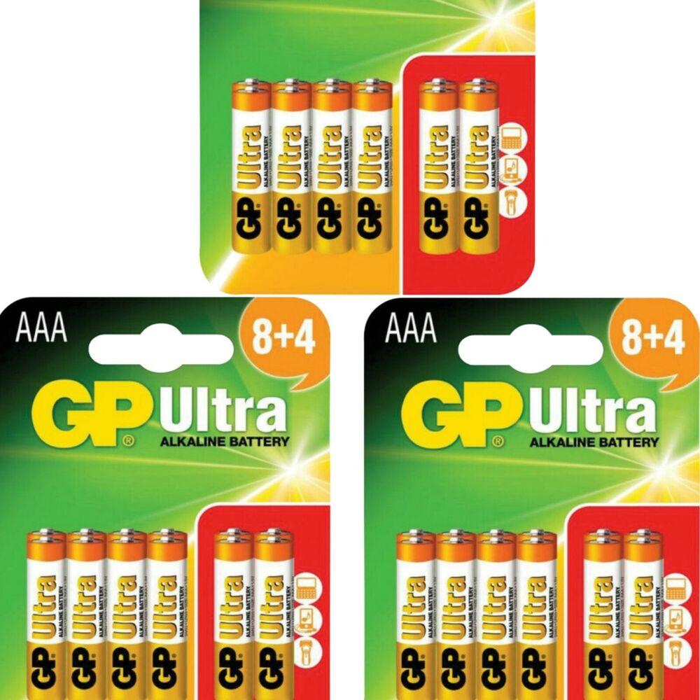 36 gp ultra aaa lr03 batteries lr03 1 5v alkaline high performance 3 packs 12 ebay. Black Bedroom Furniture Sets. Home Design Ideas