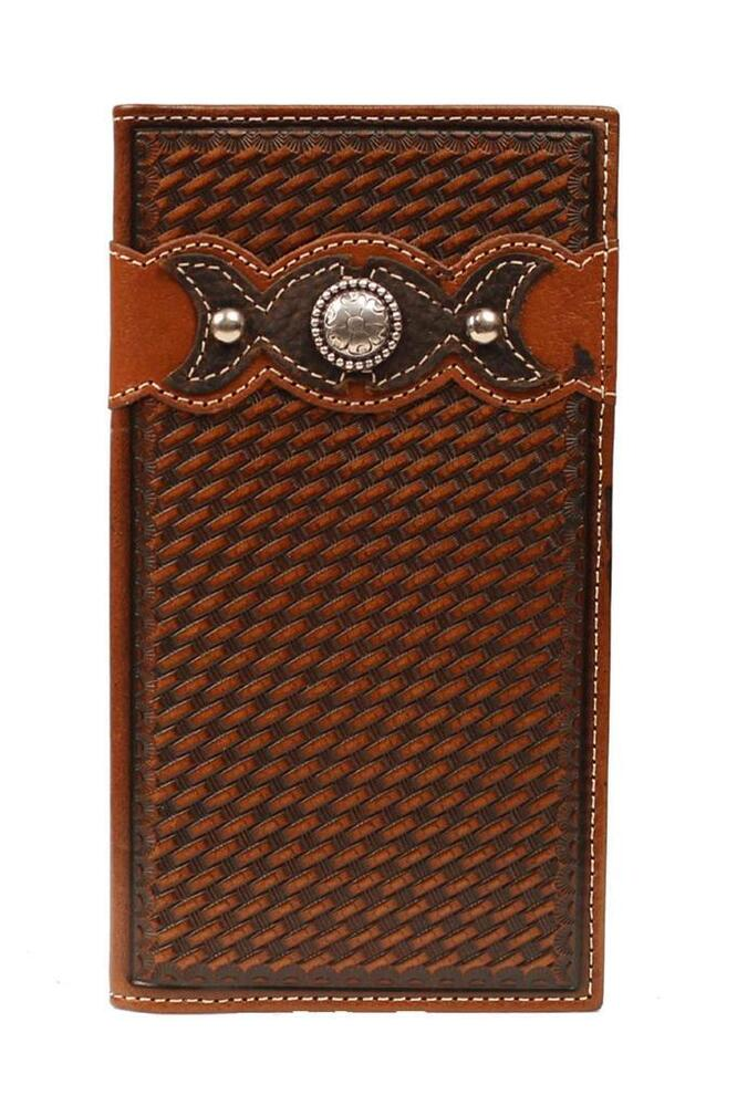 Ariat Western Rodeo Tooled Leather Men S Brown Wallet W