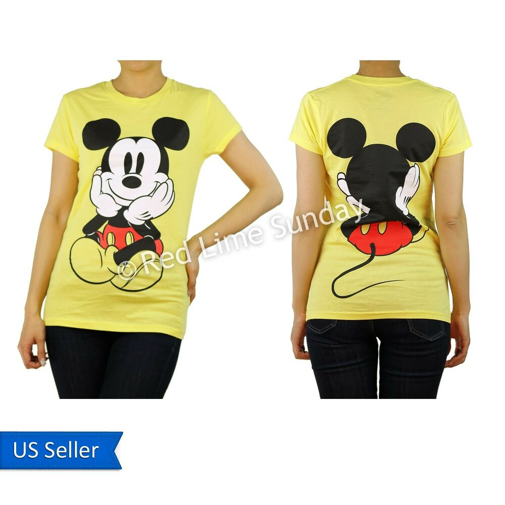 disney yellow curious mickey mouse print color cotton t. Black Bedroom Furniture Sets. Home Design Ideas