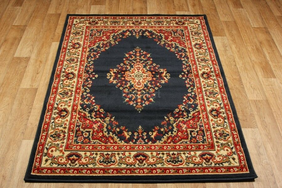 Navy Blue Red Traditional Persian Oriental Design Rug