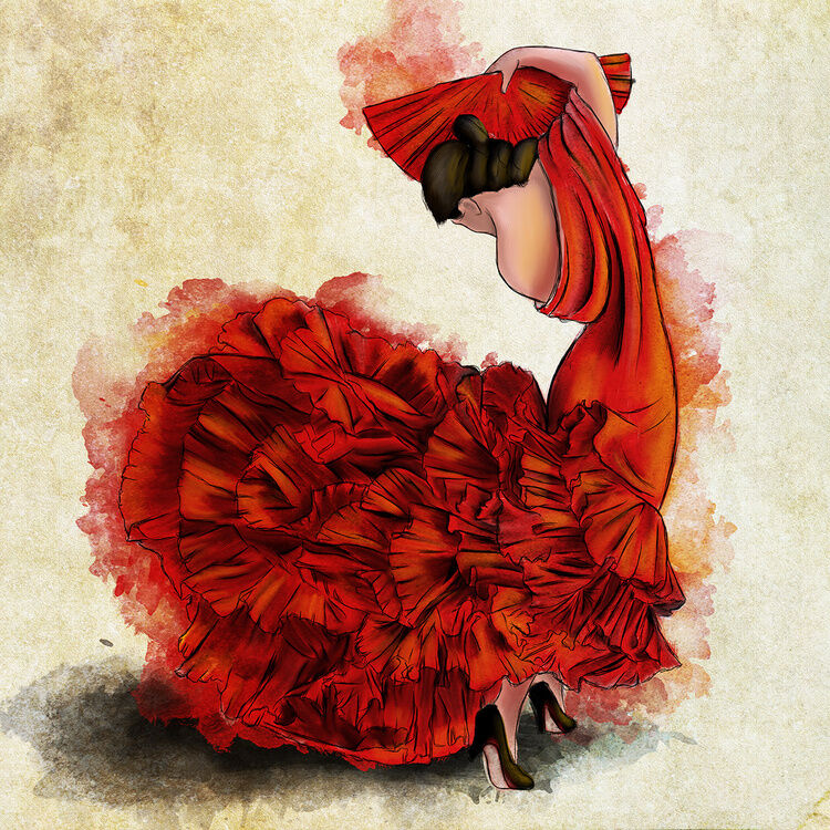 flamenco del fuego i art poster print 12x12 ebay. Black Bedroom Furniture Sets. Home Design Ideas