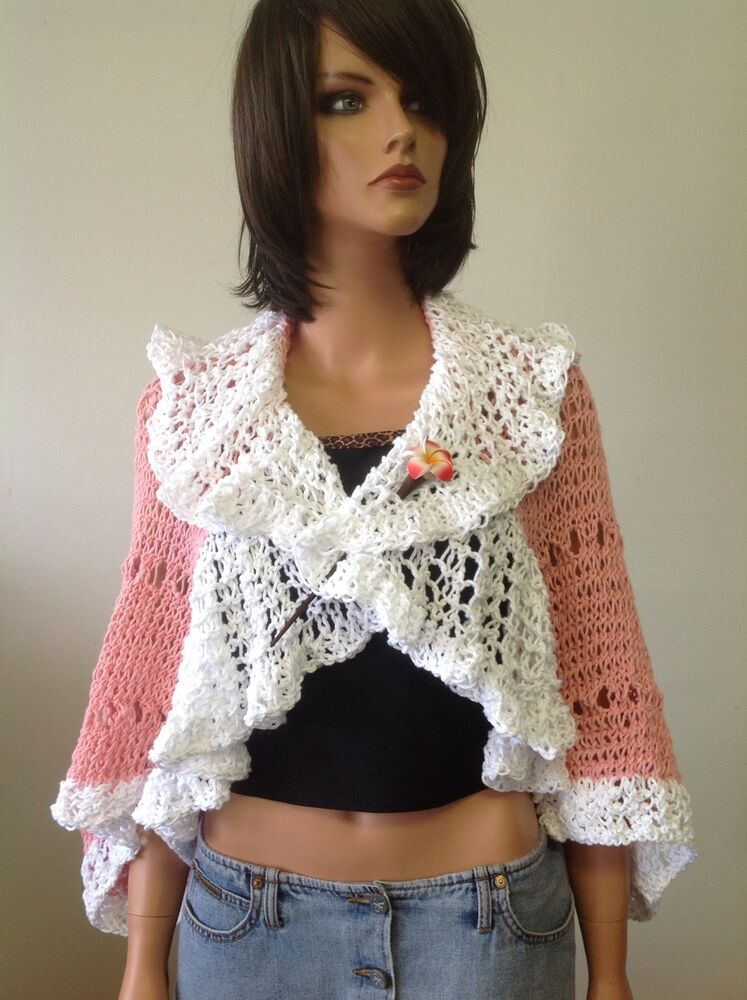 Hand knit shrug sweater shawl bolero rose pink white lace for Designer bolero