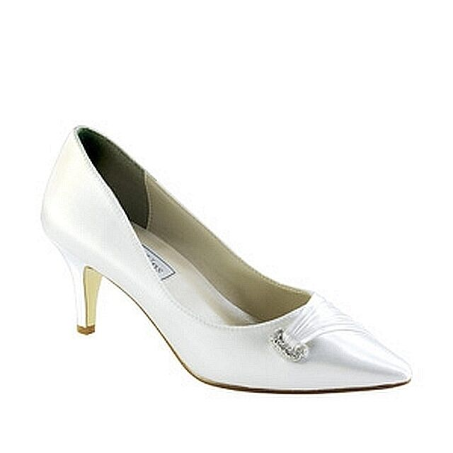 "Touch Ups Chandra Dyeable White Satin 2"" High Heel Formal"