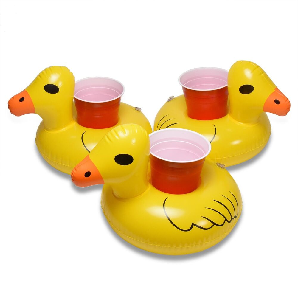 Three Inflatable Rubber Ducky Beverage Floaters 3 Pack