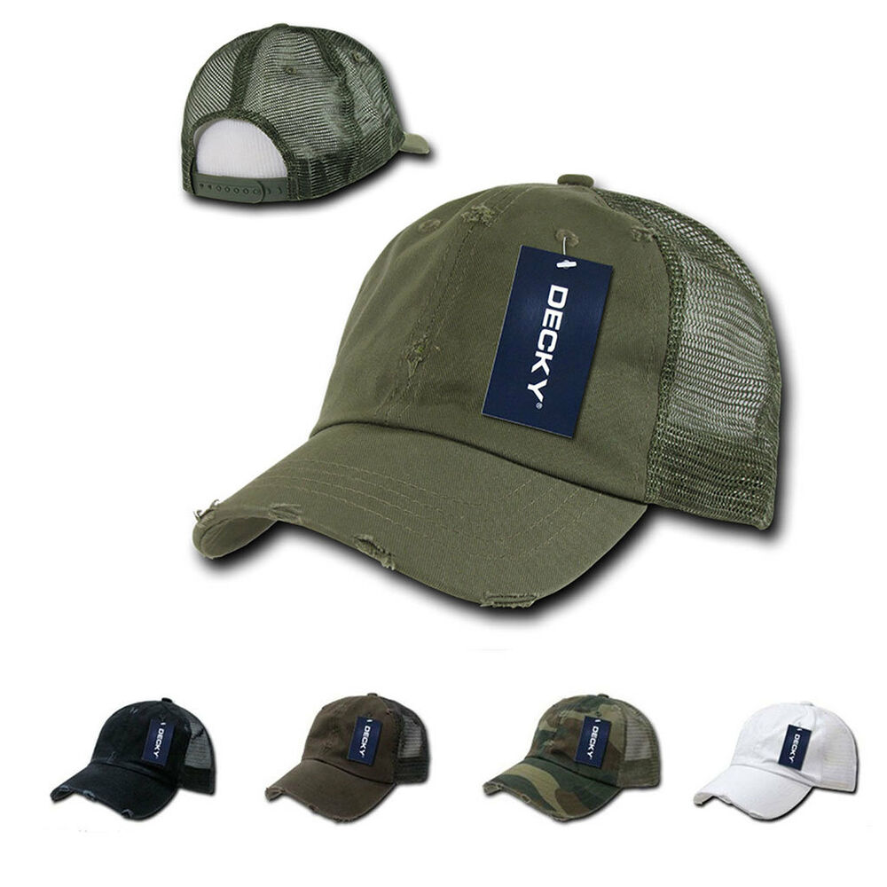 DECKY Vintage Mesh Washed 6 Panel Cotton Pre-Curved