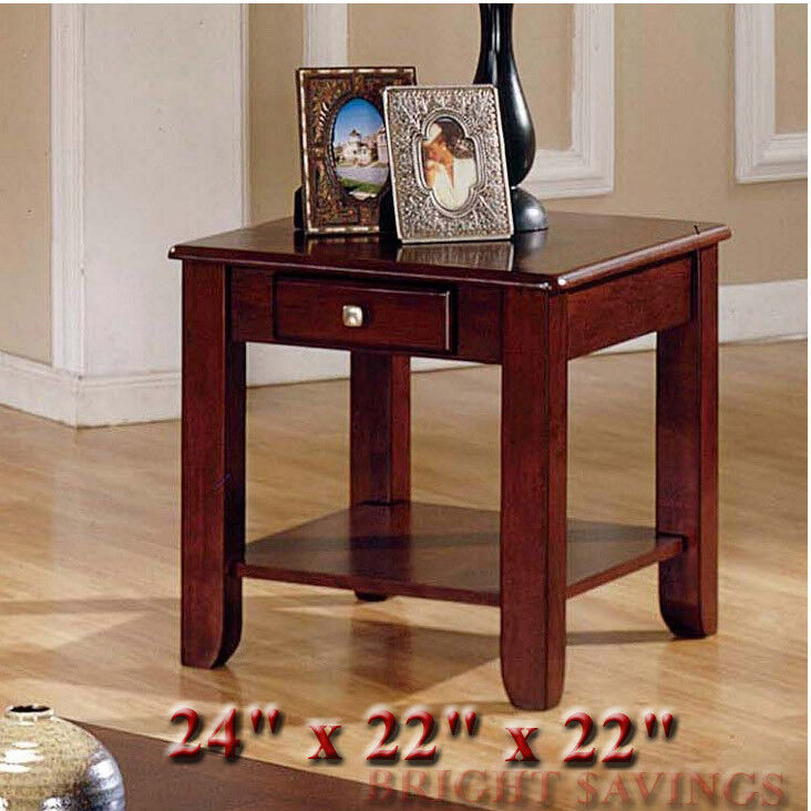 NEW Cherry Square Wooden End Table Storage Drawer Shelf Living Room EBay