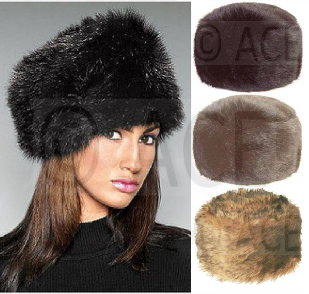 luxury womens wide thick pile faux fur russian hat