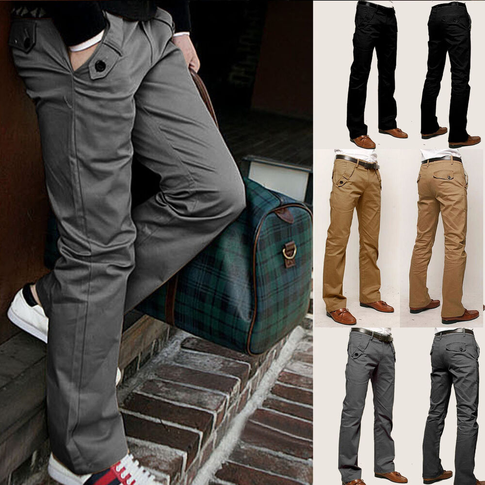 Mens Casual Slim Fit Straight-leg Long Trousers Jeans Formal Dress Leisure Pants | EBay