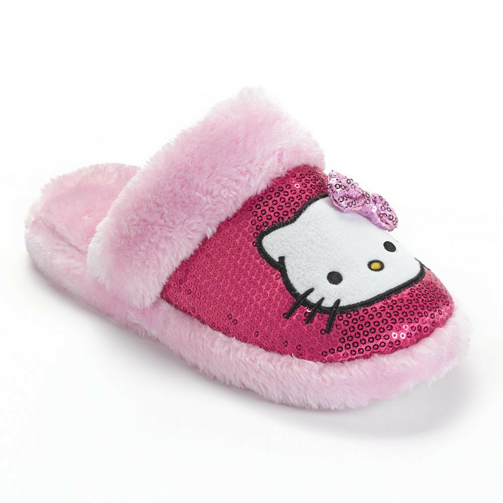 HELLO KITTY Pink PLUSH SLIPPERS House Shoes SEQUIN Bow