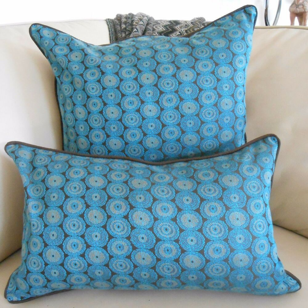 new turquoise blue brown circles silk backed oblong or. Black Bedroom Furniture Sets. Home Design Ideas