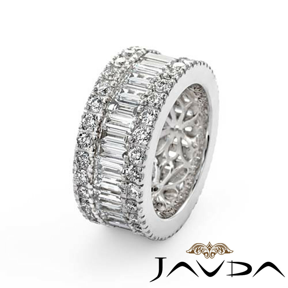 Banded Bands: Womens Wedding Ring Baguette Round Diamond Eternity Band