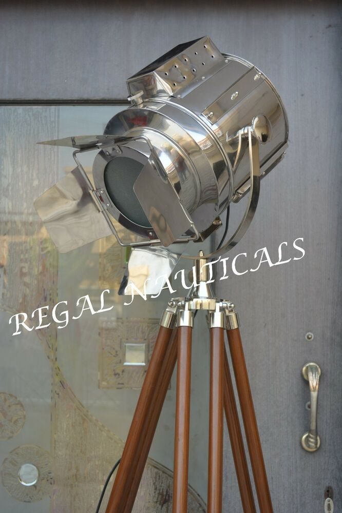 Retro design vintage style searchlight spotlight telescopic tripod floor lamp ebay - Tripod spotlight lamp ...