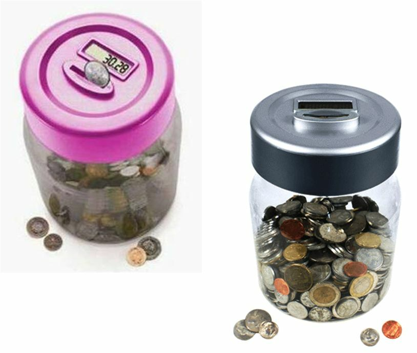 Lcd money saving jar digital coin counter cash saver bank piggy box bottle tin ebay - Coin bank that counts money ...