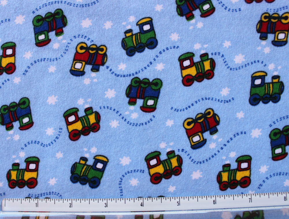 Snuggle flannel multi color on blue train print 100 for Train print fabric