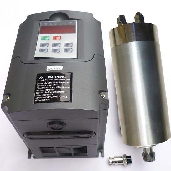 Water Cooled 1 5kw Usa 110v Cnc Spindle Motor And Matching Inverter Vfd Router Ebay