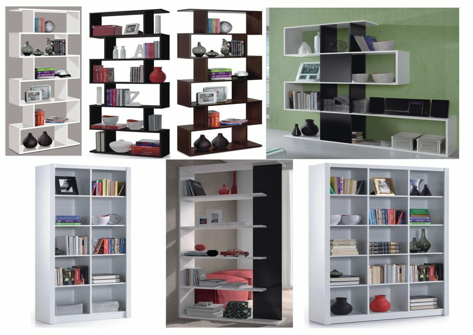 Gloss Black White Brown Room Divider Bookcase Lounge
