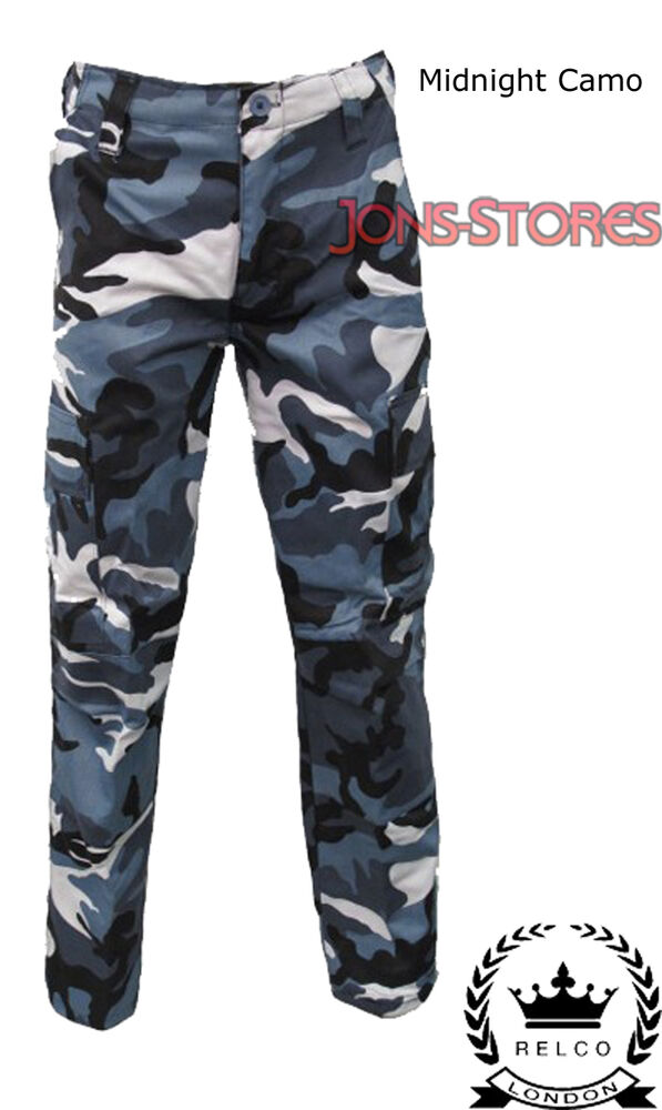combat cargo army military trousers midnight camo 28 46 ebay. Black Bedroom Furniture Sets. Home Design Ideas
