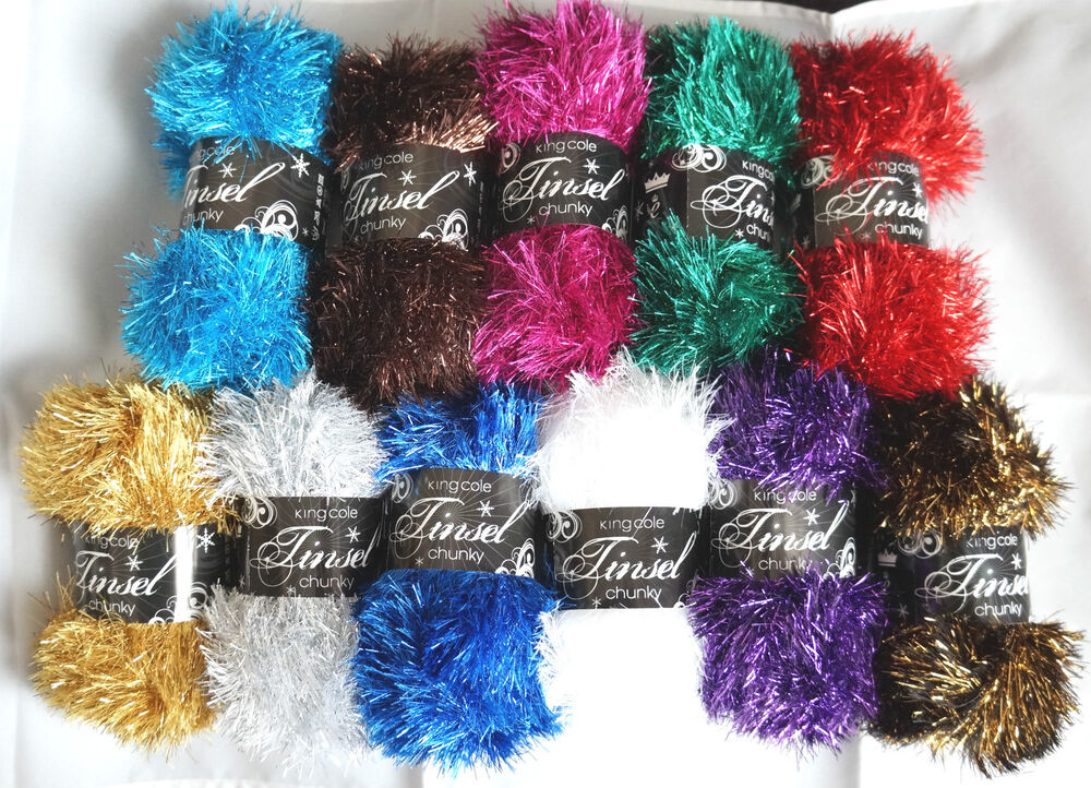 Knitting Patterns For King Cole Tinsel : KING COLE TINSEL CHUNKY GLITTER KNITTING YARN WOOL 50G +