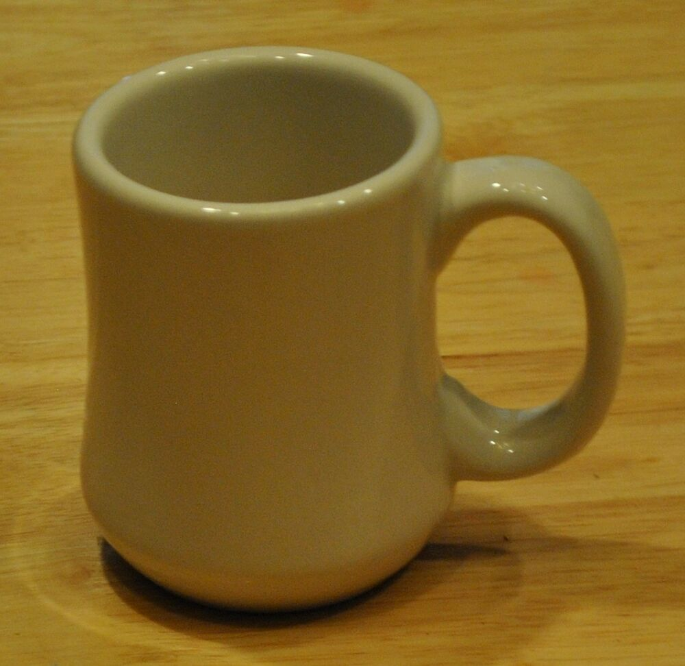 Vtg white restaurant ware diner coffee mug cup c handle for Heavy ceramic coffee mugs