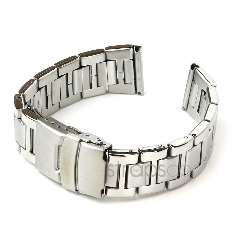 StrapsCo Solid Stainless Steel Watch Band Mens Strap
